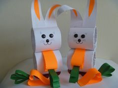 For this easy and cute rabbit craft.make with circle cardboard tubes,white sheet,orange and green color papers,some googly eyes and noise Animal Activities For Kids, Animal Crafts For Kids, Easter Activities, Craft Projects For Kids, Crafts For Kids To Make, Easter Crafts For Kids, Easy Crafts, Diy And Crafts, Paper Crafts