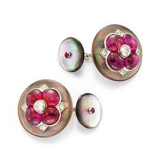Viren Bhagat. Mother of pearl, diamond & ruby cufflinks...♡