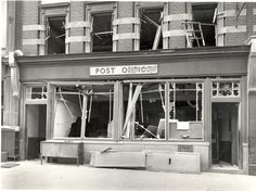Flying Bomb damage to Brixton Post Office on Acre Lane, Brixton, Post Office, Acre, Monochrome, Garage Doors, London, History, Outdoor Decor, Pictures
