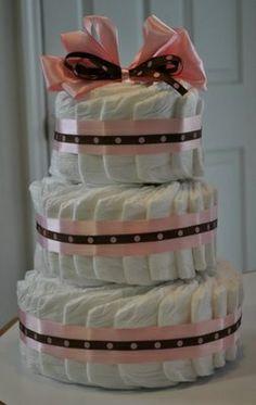 spiral diaper cake, fanned diaper cake