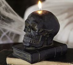 Skull on Book Candle #potterybarn