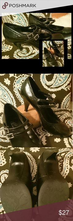 Classy Black Kitten Heels Classy Black Kitten Heels. Perfect for work or any occasion. Double buckle closure.  *Small scuffs on Heels - can barely see them.  2 1/2 inch Heels Fits true to size 7 1/2 All man-made materials Mia Amore Shoes Heels