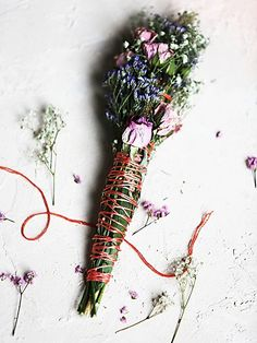 Wildflower Bundles   spray roses, gypsophila, limonium, typha (cattail) and sage with vintage string.  Handmade in Upstate New York.