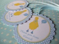 Thank You Gift Tags x 6  Little Duckling's Balloon  by bumpkinhill