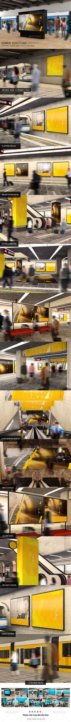 Subway Advertising Mockups 10 Pre made psd file High Resolution 3000×2000 Views are connected in space from view 1 to 10 Platform display Station domination Subway exterior Includy option visitor Included speedy motion