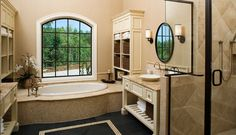 Love beautiful bathrooms ! Windows by the Tub are my fav accent piece !