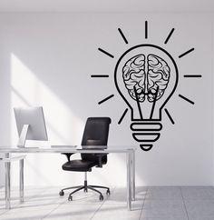 Vinyl Wall Decal Bulb Idea Brain Motivation Decor For Office Stickers (1953ig)