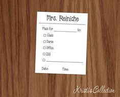 Personalized Teacher Pass Notepad Set of FOUR by KristisCollection