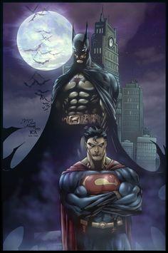 Superman and Batman by Benes http://4.bp.blogspot.com/-UU7iASXx3D0/TY45e1ogRgI/AAAAAAAAFiI/a3hxl3rBH9E/s1600/rubensbatmansupercolour2.jpg