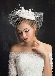Boda real sombrero pluma tul Birdcage Veil cascos nupciales (15 Cm X 15 Cm)