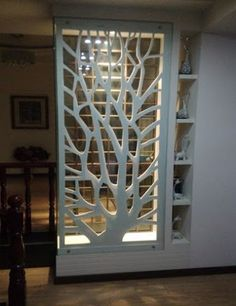 PVC wood board MDF hollow carved panels backdrop screen porch ceiling partition walls white in Continental - Haus Dekoration Living Room Partition Design, Room Partition Designs, Living Room Divider, Partition Walls, Partition Ideas, Flur Design, Plafond Design, Design Design, Design Ideas