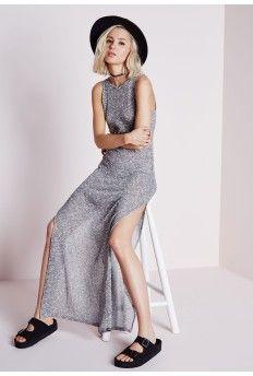 Fine Knit Side Split Maxi Dress Grey
