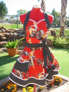 LOVE this Sassy Apron by Lana --- Pin Ups and Hot Wheels in red and black!!  Last one, hurry quick over to her Etsy shop!
