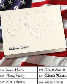 personalized floral design fold notes raised ink stationery embossed flower design 25 notesset - Embossed Note Cards