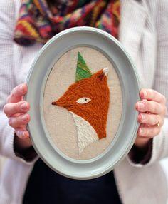 DIY Embroidery Kit Party Fox Crewel Embroidery Kit von takofibers