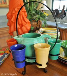 The Little Round Table: Vintage Fiesta Beverage Set