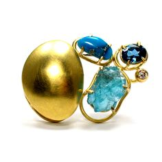 Joanna Gollberg, Gold Brooch with Prong-Set Gemstones, 18-karat gold, blue gemstones, diamond