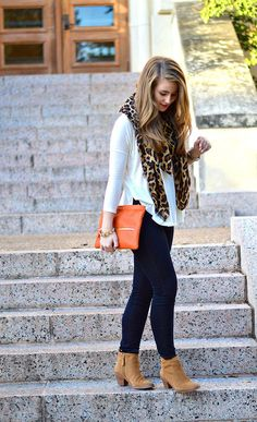 XOXO. Camel boots, white blouse, leopard scarf and orange handbag, Top 20 fashion combinations to wear this season.