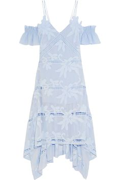 SELF-PORTRAIT Off-the-shoulder embroidered georgette dress. #self-portrait #cloth #dress