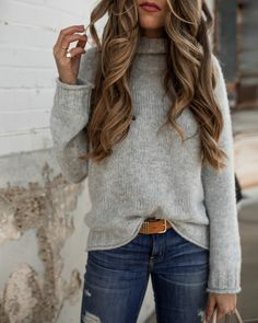 Grey sweater for Fall #styleblogger