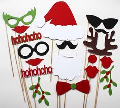 Photo Booth Props  - 18 Piece - Christmas Party
