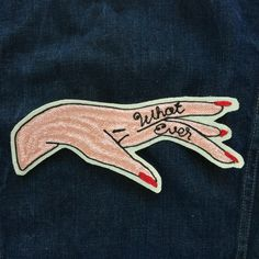 "Hand cranked by http://www.chainstitcher.com/Ben Goetting on a vintage chain stitch embroidery machine. Approx 8.5"" x 3.5"" Patch with Pink, Red, and Black Rayon on natural colored cotton duck canvas. With Iron-On Backing."