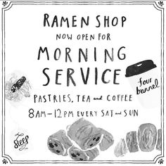 If you're one of our East Bay friends who wants their Four Barrel on the weekends but doesn't feel like trekking in - fret no more. Ramen Shop Oakland is now serving coffee and pastries every Saturday and Sunday morning. We say you stay until they boot you out and then lay on the concrete outside until they open up again for dinner.  8am-12pm every Saturday and Sunday by fourbarrelcoffee
