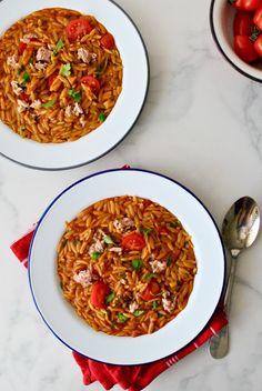 ΚΡΙΘΑΡΑΚΙ ΜΕ ΤΟΝΟ Orzo, Get Healthy, Tuna, Risotto, Chili, Curry, Soup, Eat