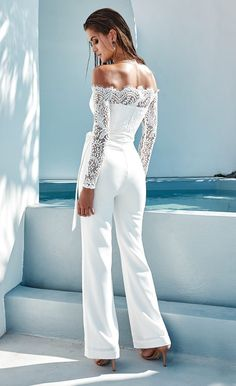 b4234894221 white off the shoulder jumpsuit Bridal Jumpsuit