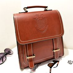 Quality PU Leather College Preppy-Style Buckle Accent Large-Capacity Backpack 4 Colors