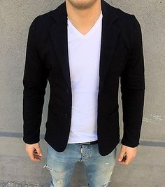 Hot stylish #men's coat casual two #button suit blazer dress jacket tops #black,  View more on the LINK: http://www.zeppy.io/product/gb/2/121943624726/