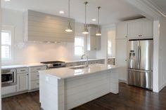 Revere Pewter Kitchen - Carrara Marble - Shiplap Vent Hood