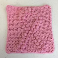 free crochet patterns for breast cancer | Breast Cancer Awareness Ribbon Square - free pattern