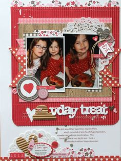 V-Day Treat Layout by Melanie Blackbun using the Hearty Barley collection, red corrugated sheets, corrugated shapes, heart sugar picks, and the Unity/Jillibean Soup Dutch Mustard Soup Stamp (via the Jillibean Soup blog).
