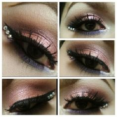 adding rhinestones to the edge of the winged liner