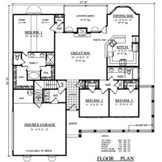 First Floor Plan of Country   House Plan 79286