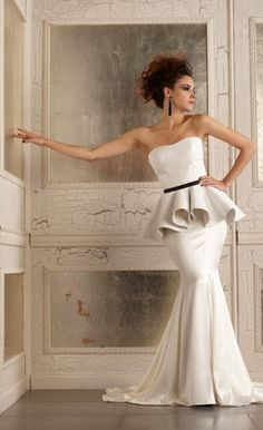 MADISON CORSET & DEVIN SKIRT- Della Giovanna White Leather Peplum with Silk Mermaid Edgy Bridal Gown. These are Bridal Separates so that you can mix and match the pieces to make your own unique dress!