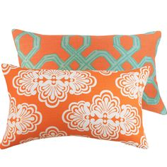 Orange and Aqua Lilly Pulitzer Fabric Pillow Cover 12x20 Lumbar Shells Damask Lattice, Mango Tango Couture Collection. $51.00, via Etsy.