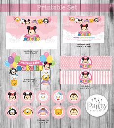 """This Disney Tsum Tsum Printable set is perfect for baby shower ~!  ► WHAT YOU GET◄ This listing is for a DIGITAL printable: 1) Backdrop file in 72"""""""