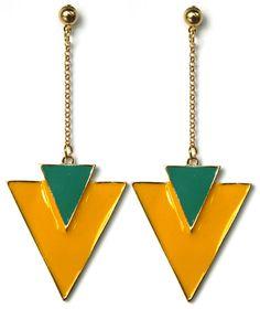 Σκουλαρίκια Μακριά 80s Style Κίτρινο&Τιρκουάζ