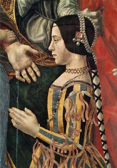 BEATRICE D'ESTE 1475-1497 (22) daughter of  Ercole I d'Este and Leonora of Naples. Married Ludovico il Moro . Pala Sforzesca  c. 1496-97 Pinacoteca Brera