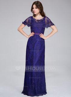Sheath/Column Scoop Neck Floor-Length Charmeuse Lace Evening Dress (017026210)