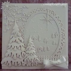handmade Christmas card from A Scrapjourney . white on white . delightful Christmas scene with die cuts and embossing . Homemade Christmas Cards, Christmas Cards To Make, Xmas Cards, Homemade Cards, Handmade Christmas, Holiday Cards, Christmas Eve, Christmas Abbott, Christmas Fabric