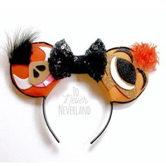 Timon and Pumba Mickey ears headband by To Never Neverland on Etsy https://www.etsy.com/listing/497427241/pumbaa-timon-mickey-ears-lion-king