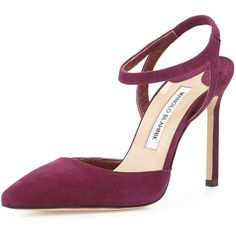 Manolo Blahnik Minis Suede Ankle-Wrap Pointed-Toe Pump (540 CAD) ❤ liked on Polyvore featuring shoes, pumps, red suede, red pumps, red pointed toe pumps, high heel pumps, high heel shoes and red shoes