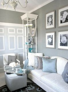The living room however has light floors with white furniture so I think it merits a darker gray. Enter more inspiration: