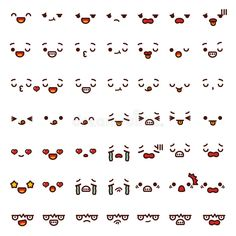 Collection of cute lovely emoticon emoji Doodle cartoon face. Emoji Drawings, Easy Doodles Drawings, Cute Easy Drawings, Cute Kawaii Drawings, Kawaii Doodles, Cute Cartoon Faces, Kawaii Faces, Boca Anime, Chat Kawaii