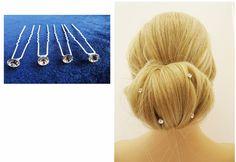 Clear Diamante Hair Pins Hair Jewel Bridal Prom for Up Dos Hair Grip 4 in a pack