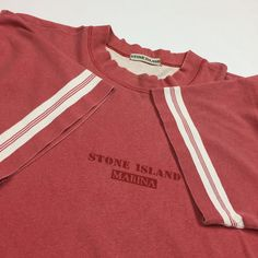 658ff9eb6c Stone Island Marina Vintage T-Shirt From 80s 90s. Faded red and size. Depop