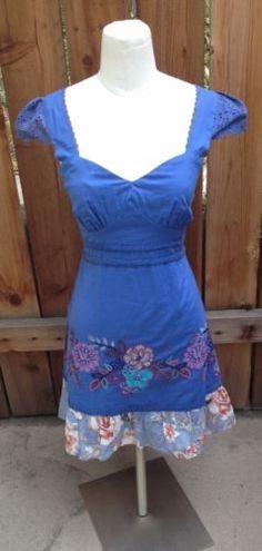 SWEET Blue LULUMARI Anthropologie Embroidered Flowers Dress sz Small